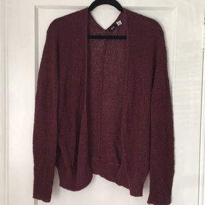 BDG Cozy Cardigan Maroon Burgundy XS Knit Sweater